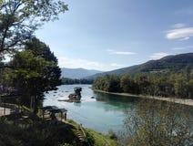 Ποταμός της Drina, κοντά σε Bajina BaÅ ¡ TA, Σερβία στοκ φωτογραφία με δικαίωμα ελεύθερης χρήσης