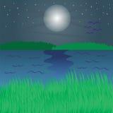 Ποταμός τη νύχτα Στοκ εικόνα με δικαίωμα ελεύθερης χρήσης