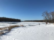 Ποταμός του Κοννέκτικατ παγωμένος Χειμώνας 2018 Κοννέκτικατ Στοκ Εικόνα