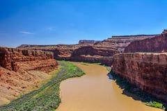 Ποταμός του Κολοράντο στο εθνικό πάρκο Canyonlands, Moab, Γιούτα Στοκ Φωτογραφία