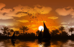 ποταμός του Νείλου τραπ&epsi απεικόνιση αποθεμάτων