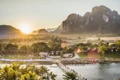 Ποταμός τραγουδιού Nam στο vangvieng Λαοτιανός στοκ φωτογραφίες