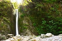 Ποταμός, φύση, νερό θαμπάδων, καταρράκτες, δέντρο, άδεια, pollino, Καλαβρία, Ιταλία Στοκ εικόνα με δικαίωμα ελεύθερης χρήσης