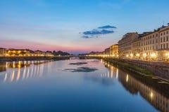 Ποταμός Φλωρεντία Ιταλία Arno Fiume τη νύχτα Στοκ φωτογραφίες με δικαίωμα ελεύθερης χρήσης