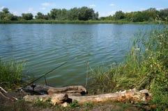 Ποταμός Chagan στο Καζακστάν, αλιεία στοκ εικόνα