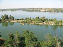 Ποταμός Dnieper, η πατρίδα Dnipro πόλεων Στοκ εικόνα με δικαίωμα ελεύθερης χρήσης