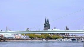 Ποταμός DOM Ρήνος της Κολωνίας χρονικού σφάλματος απόθεμα βίντεο