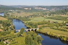 Ποταμός Dordogne από την πόλη Domme, Γαλλία στοκ εικόνα με δικαίωμα ελεύθερης χρήσης