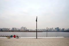 Ποταμός Hangang μια νεφελώδη ημέρα στοκ εικόνα