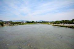 Ποταμός Hozu σε Arashiyama, Κιότο, Ιαπωνία Στοκ Εικόνα