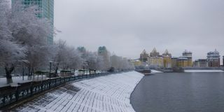Ποταμός Ishim το χειμερινό πρωί στοκ φωτογραφίες με δικαίωμα ελεύθερης χρήσης
