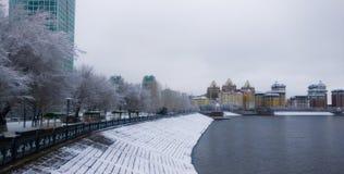 Ποταμός Ishim το χειμερινό πρωί στοκ εικόνες