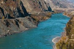 Ποταμός Katun των βουνών Altai, Δημοκρατία Altai, Ρωσία Φύση Στοκ Φωτογραφίες