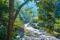 Ποταμός Khola Khola Reshi Rishi σε Nepali που σημαίνει ένα μικρό ρεύμα στοκ φωτογραφία