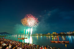 ποταμός kiso πυροτεχνημάτων Στοκ Εικόνα