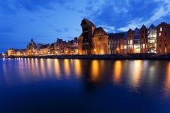 Ποταμός Motlawa στην Πολωνία στο ηλιοβασίλεμα Στοκ Εικόνες