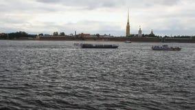 Ποταμός Neva, Peter και φρούριο του Paul Πετρούπολη Ρωσία ST απόθεμα βίντεο