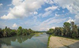 Ποταμός Po σε Settimo Torinese Στοκ Φωτογραφίες