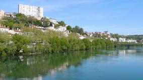 Ποταμός Rhône στη Λυών, Γαλλία απόθεμα βίντεο