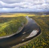Ποταμός Schugor, βόρεια Ουράλια Στοκ εικόνα με δικαίωμα ελεύθερης χρήσης