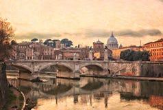 Ποταμός Tiber στη Ρώμη ελεύθερη απεικόνιση δικαιώματος