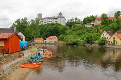 Ποταμός Vltava κωπηλασίας σε κανό, Δημοκρατία της Τσεχίας Στοκ Φωτογραφία