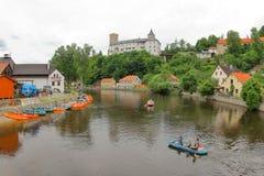 Ποταμός Vltava κωπηλασίας σε κανό, Δημοκρατία της Τσεχίας Στοκ Φωτογραφίες