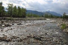 Ποταμός zhom-Bolok βουνών στο δέλτα του Oka Sayanskaya στοκ εικόνες