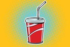 Ποτό γρήγορου φαγητού φλυτζανιών εγγράφου διανυσματική απεικόνιση