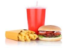 Ποτό γρήγορου φαγητού combo γεύματος χάμπουργκερ και επιλογών τηγανητών στοκ εικόνα με δικαίωμα ελεύθερης χρήσης