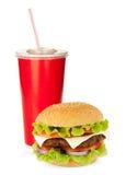 Ποτό και χάμπουργκερ γρήγορου φαγητού Στοκ Εικόνες