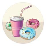 Ποτό και donuts Στοκ φωτογραφία με δικαίωμα ελεύθερης χρήσης