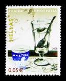 Ποτό μαστίχας από τη Χίο, παραδοσιακά ελληνικά προϊόντα serie, circa Στοκ Εικόνες