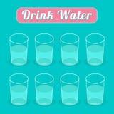 Ποτό οκτώ ποτήρια του νερού Infographic επίπεδος απεικόνιση αποθεμάτων