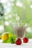 Ποτό σπόρων Chia με το λεμόνι, τη μέντα και τη φράουλα Στοκ φωτογραφίες με δικαίωμα ελεύθερης χρήσης