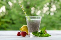 Ποτό σπόρων Chia με το νερό στο διαφανές γυαλί Στοκ φωτογραφία με δικαίωμα ελεύθερης χρήσης
