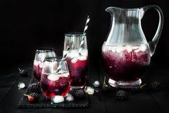 Ποτό του Blackberry στα γυαλιά με το μαύρο πλαίσιο ζάχαρης για τα κόμματα πτώσης και αποκριών Στοκ Εικόνα