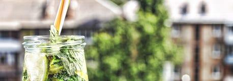 Ποτό Detox από το αγγούρι, το λεμόνι και τη μέντα στο υπόβαθρο μιας σύγχρονης πόλης νεολαίες ενηλίκων Στοκ εικόνα με δικαίωμα ελεύθερης χρήσης