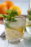 Ποτό Detox με το μεταλλικό νερό, το λεμόνι και τη μέντα Στοκ εικόνα με δικαίωμα ελεύθερης χρήσης