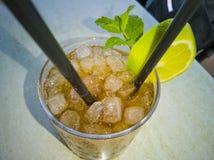 Ποτό Mojito με μια φέτα του λεμονιού στοκ εικόνες με δικαίωμα ελεύθερης χρήσης