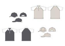πουκάμισα πόλο καπέλων του μπέιζμπολ Στοκ Φωτογραφίες