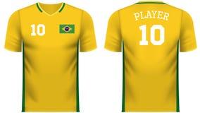 Πουκάμισο αθλητικών γραμμάτων Τ ανεμιστήρων της Βραζιλίας στα γενικά χρώματα χωρών απεικόνιση αποθεμάτων