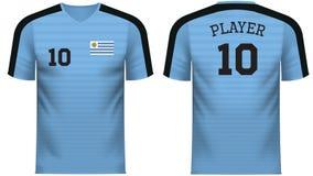 Πουκάμισο αθλητικών γραμμάτων Τ ανεμιστήρων της Ουρουγουάης στα γενικά χρώματα χωρών ελεύθερη απεικόνιση δικαιώματος