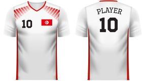 Πουκάμισο αθλητικών γραμμάτων Τ ανεμιστήρων της Τυνησίας στα γενικά χρώματα χωρών απεικόνιση αποθεμάτων