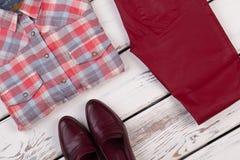 Πουκάμισο, εσώρουχα και παπούτσια καρό Στοκ φωτογραφίες με δικαίωμα ελεύθερης χρήσης