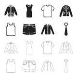 Πουκάμισο με τα μακριά μανίκια, σορτς, μπλούζα, δεσμός Ενδυμασία των καθορισμένων εικονιδίων συλλογής στο Μαύρο, διανυσματικό από Στοκ Εικόνα