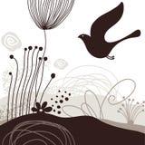 πουλί ανασκόπησης floral Απεικόνιση αποθεμάτων