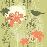 πουλί ανασκόπησης floral Ελεύθερη απεικόνιση δικαιώματος