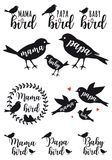 Πουλί μαμών, πουλί μπαμπάδων, μωρό, διανυσματικό σύνολο Στοκ εικόνες με δικαίωμα ελεύθερης χρήσης