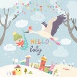 Πουλί πελαργών με το μωρό ελεύθερη απεικόνιση δικαιώματος